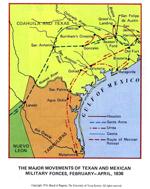 Texas Revolution 1835-1836 - The Major Movements of Texan and Mexican Military Forces, February - April, 1836