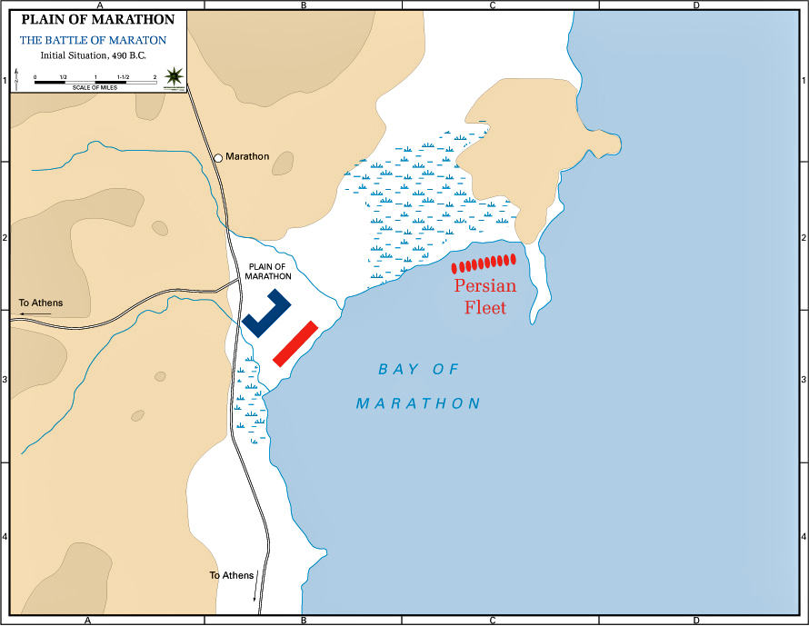 Map Of The Battle Of Marathon Initial Situation 490 Bc
