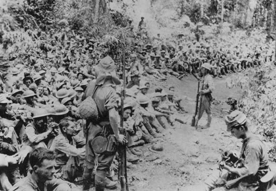 The march of death. Taken during the March of Death from Bataan to Cabana Tuan prison camp. May 1942.