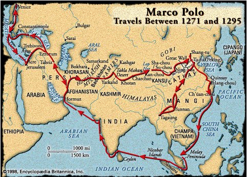 Map of Marco Polo Travels Between 1271 and 1295