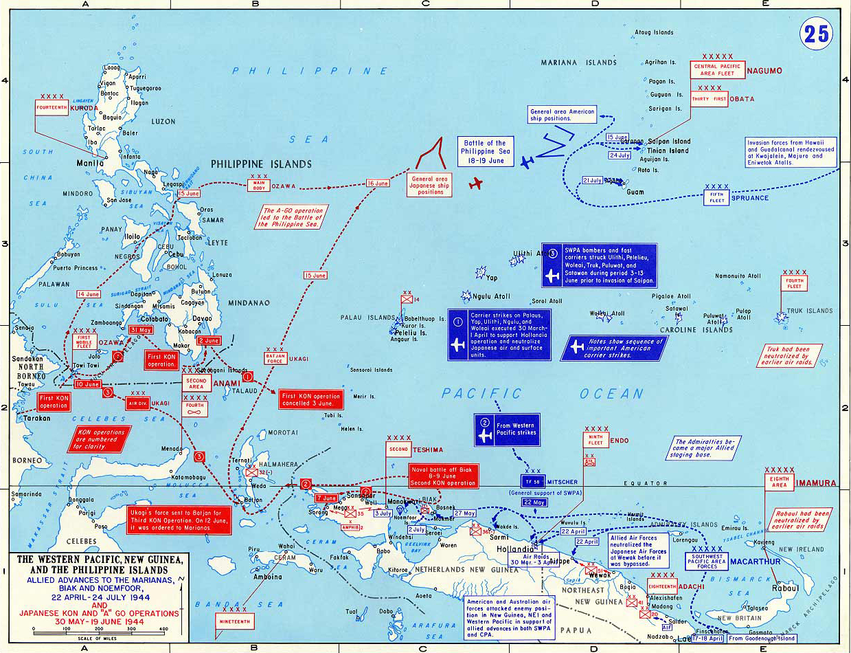 Map of wwii western pacific april july 1944 map of world war ii the western pacific new guinea and the philippine gumiabroncs Choice Image
