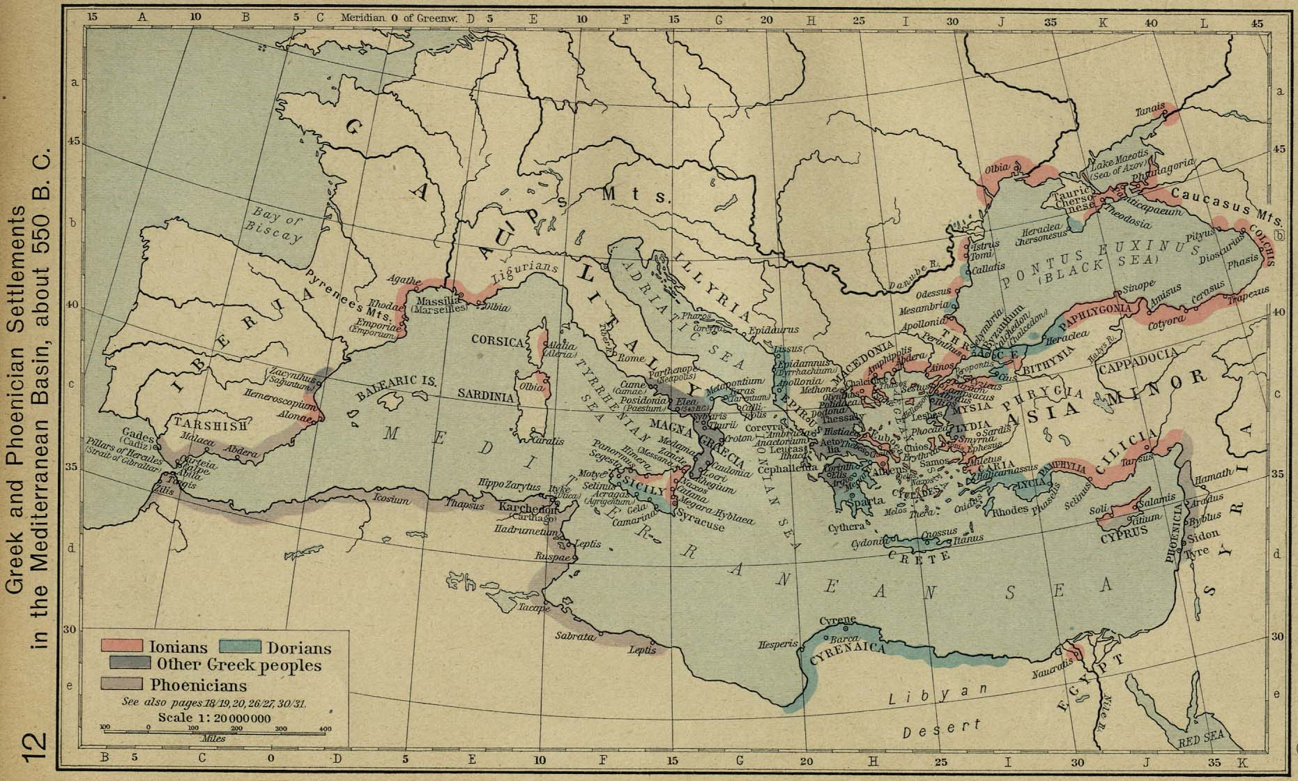 Map of the Mediterranean Sea 550 BC