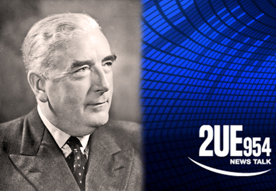 ROBERT MENZIES BROADCASTS ON STATION 2UE, SYDNEY - 1942