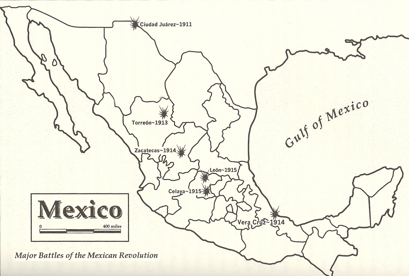 Historical Map of the Major Battles of the Mexican Revolution