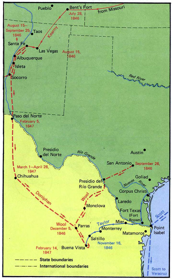Map of the Mexican War 18461847 Kearny and Doniphan