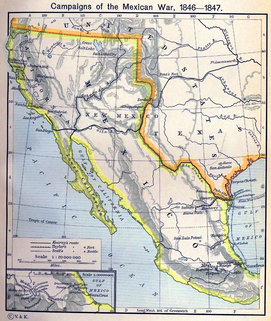 Map Of The Mexican War Campaigns 1846 1847