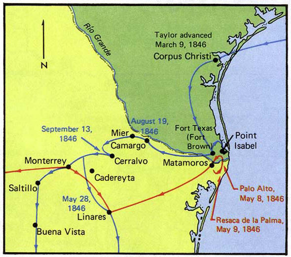 map of the mexican war taylors campaign 1846 1847