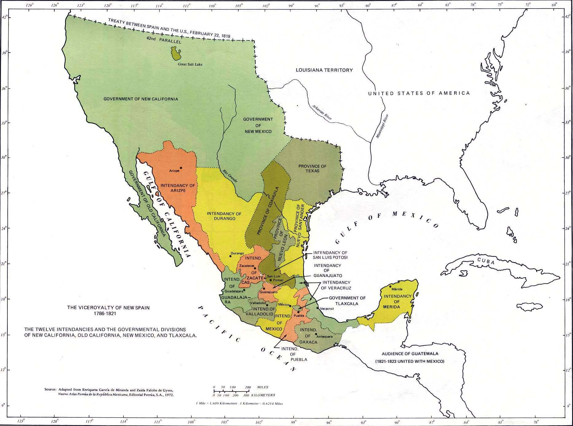 Map Of Mexico - Spain historical map