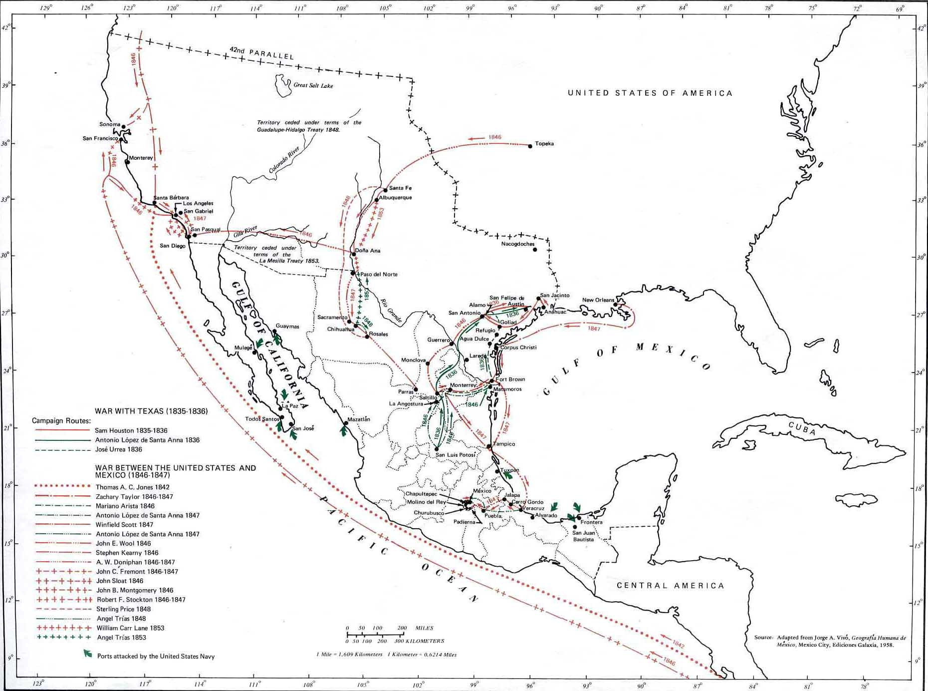 Map of MexicanAmerican Campaigns 18351853