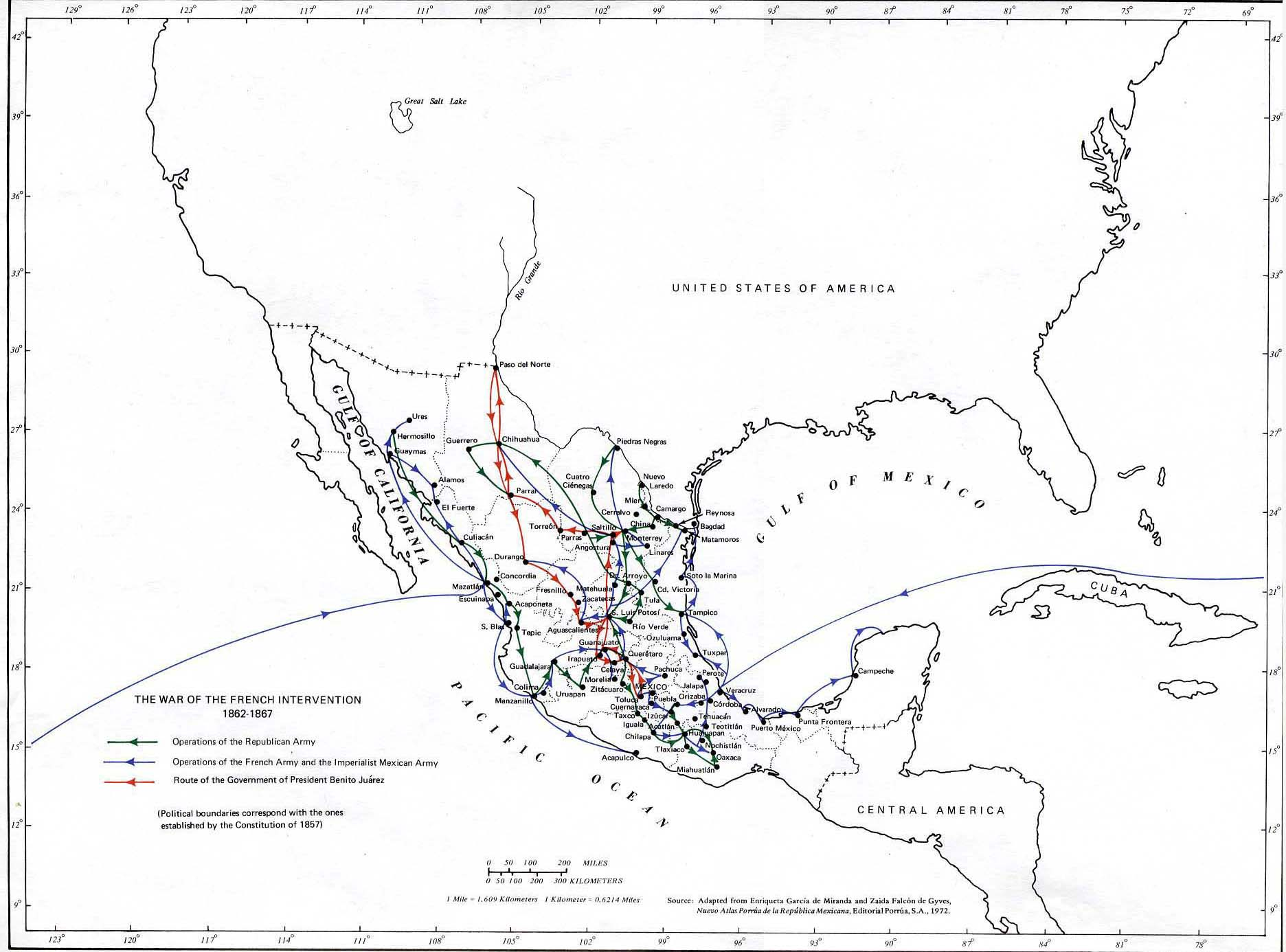 Map Of Mexico 1862 1867 The French Intervention