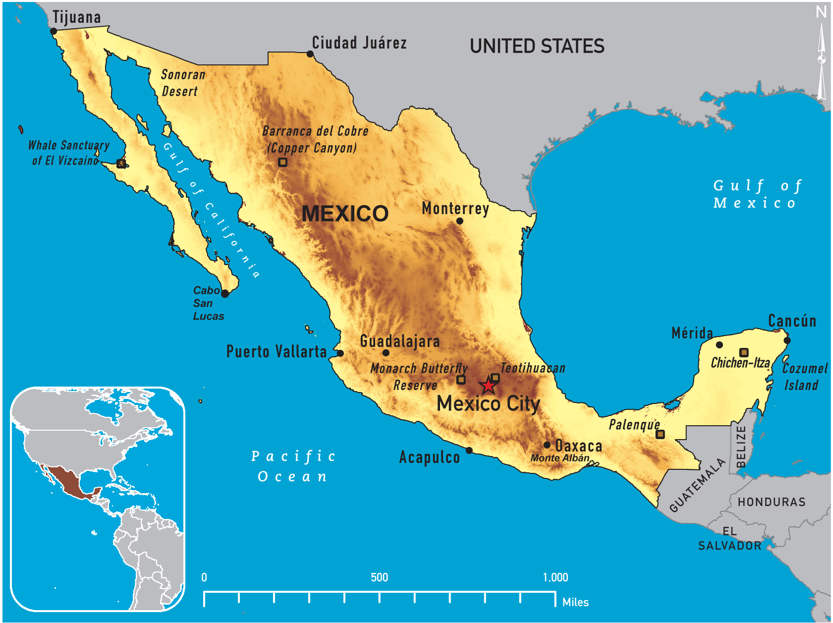 Of Mexico - A map of mexico