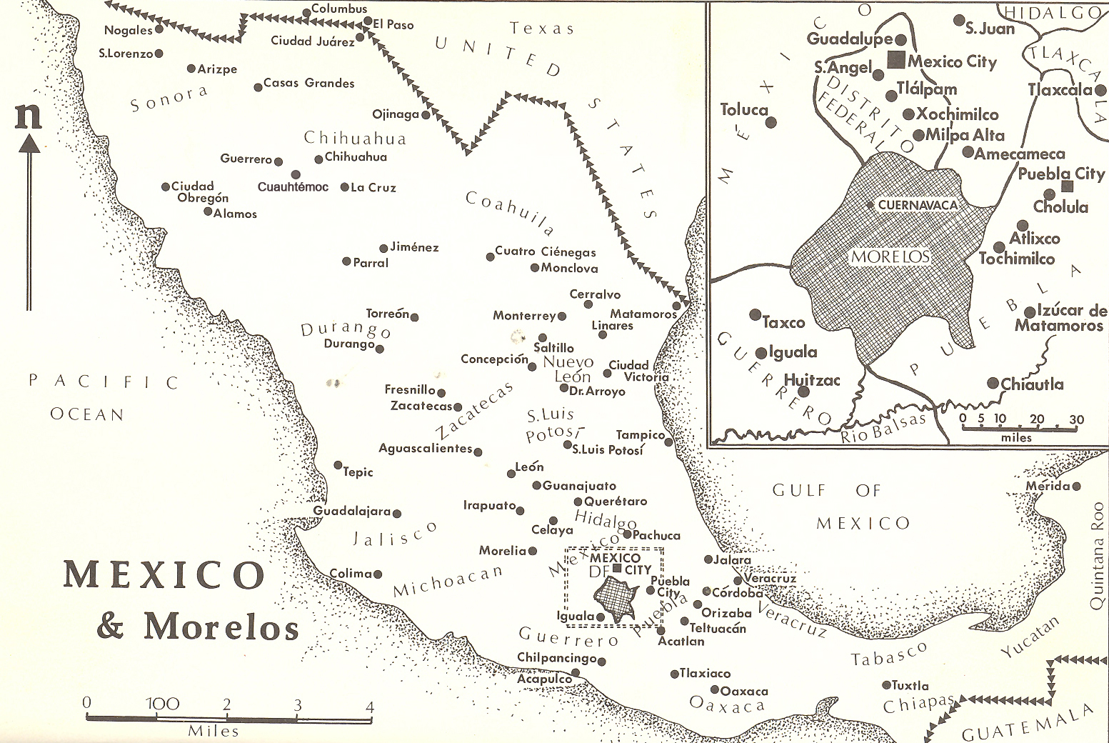 Historical Map of Mexico and the Mexican State (estado) of Morelos, around 1910