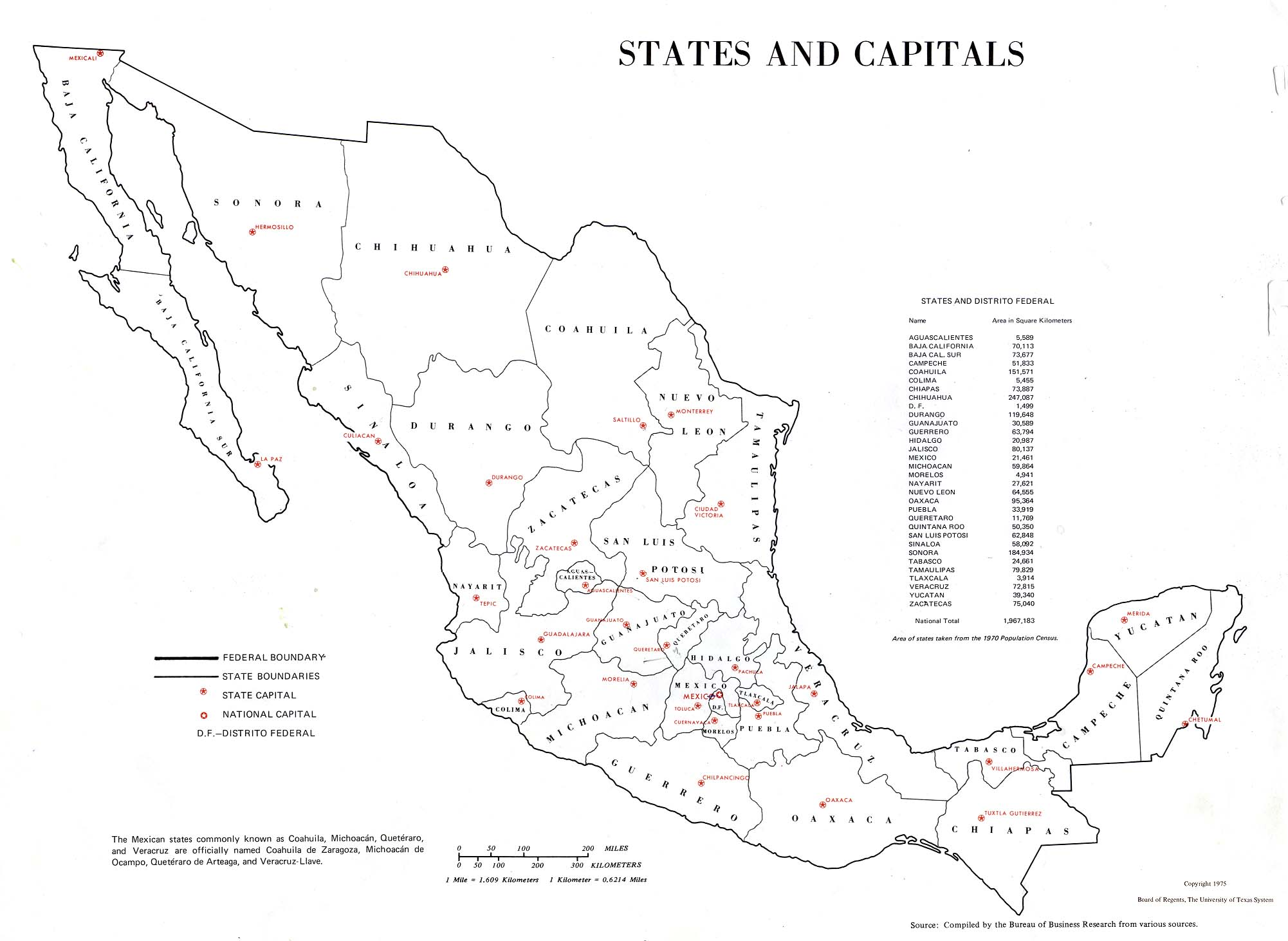 Map of Mexico - States and Capitals 1975
