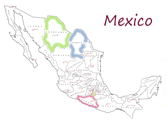 MAP OF MEXICO - STATES AND CAPITALS