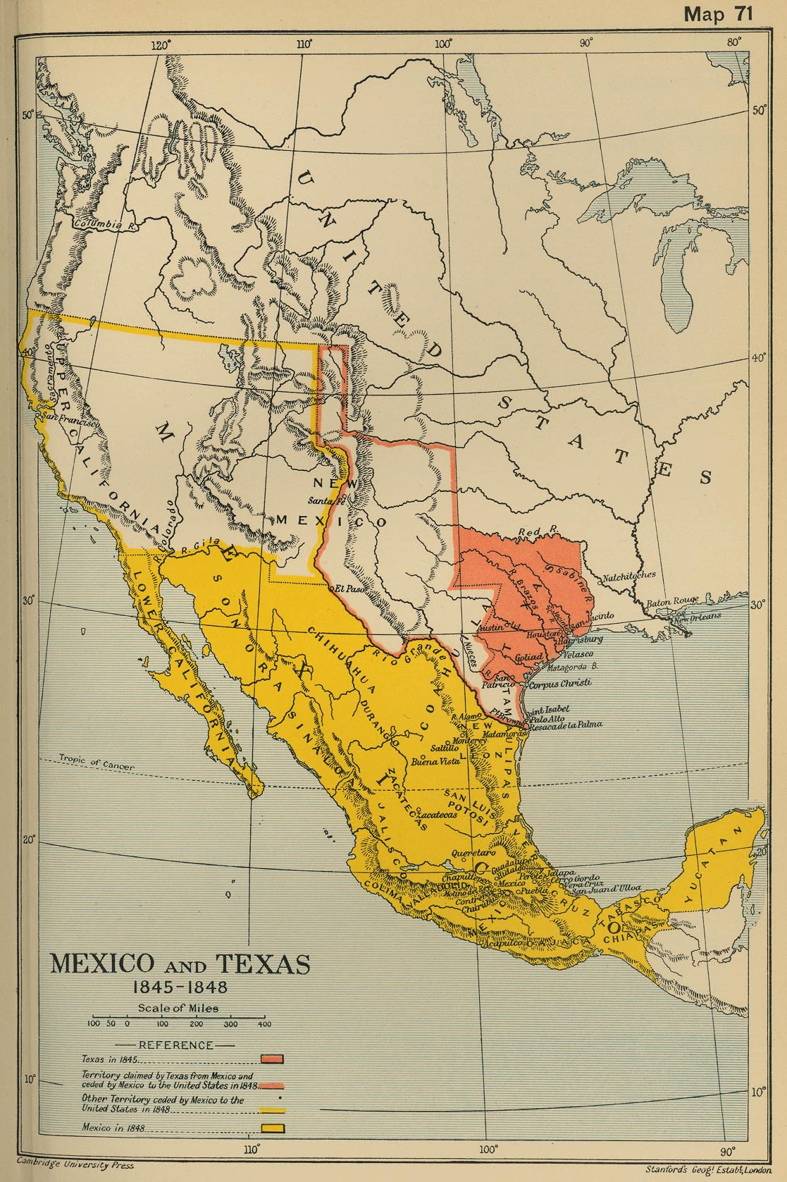 Map Of Texas Mexico.Map Of Mexico And Texas 1845 1848