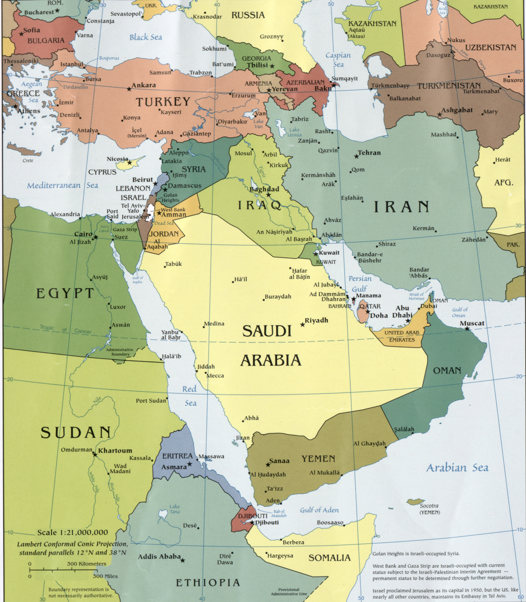 Map of the Middle East 2010