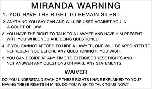 Miranda Warning Card (Houston Criminal Law Journal)