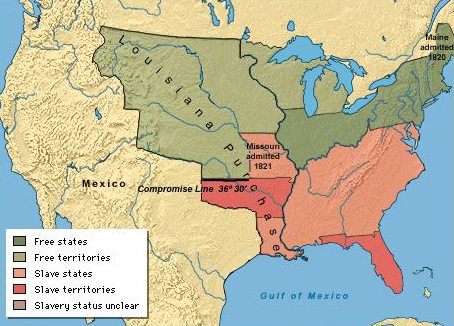 Slave States And Free States Wikipedia Slavery In America - Map of us in 1820