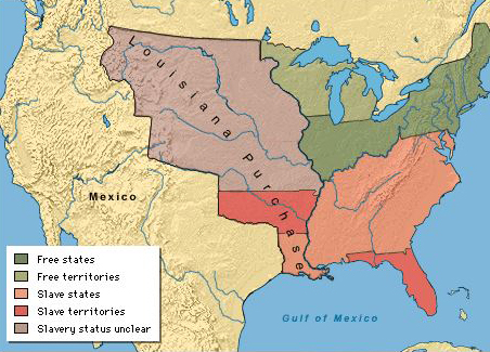 Missouri Compromise - Map of us in 1820
