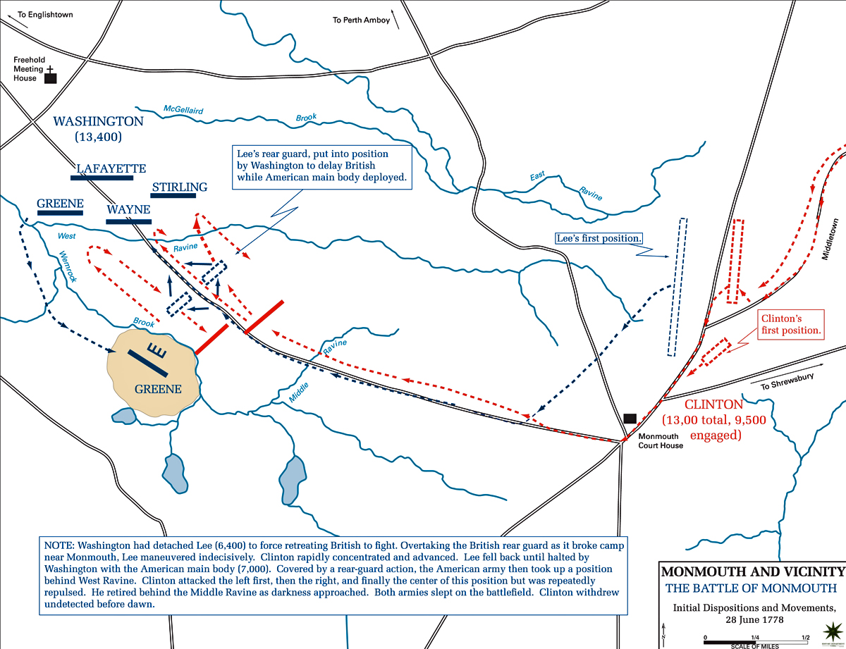Map of the Battle of Monmouth - June 28, 1778