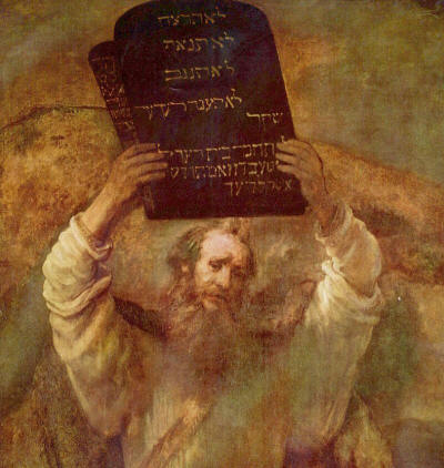 Moses Ready to Smash - Rembrandt Painting