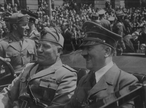 Mussolini and Hitler in a car