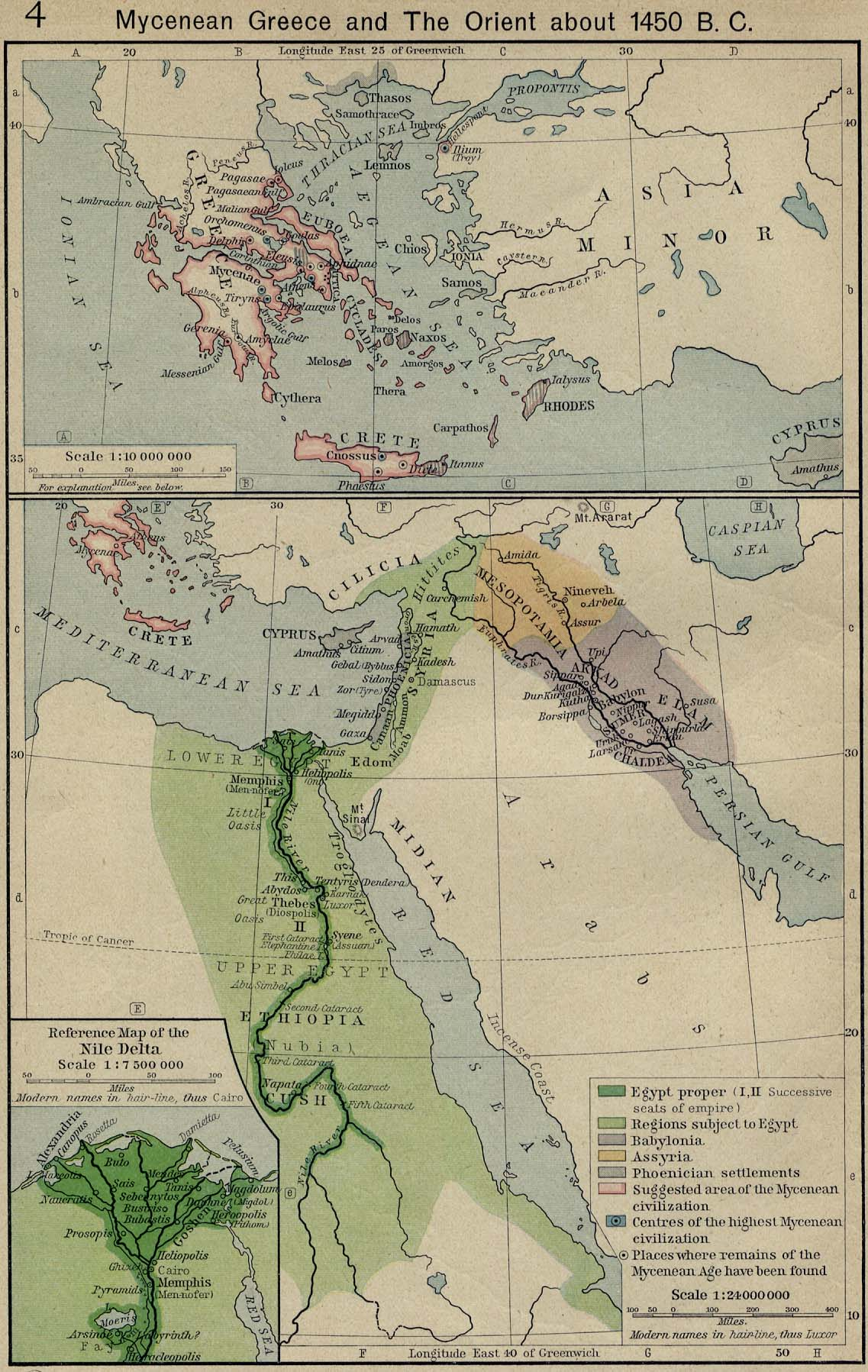 Map of Mycenaean Greece and the Orient about 1450 B.C.