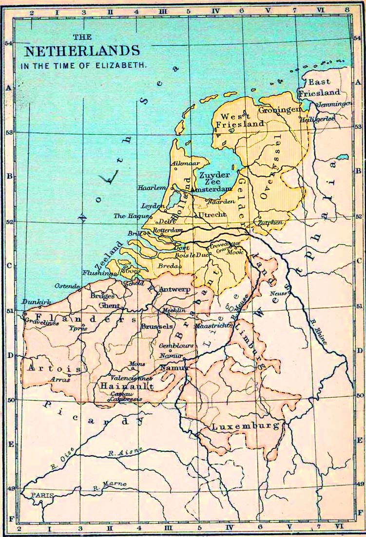 Map of the Netherlands 1558-1603