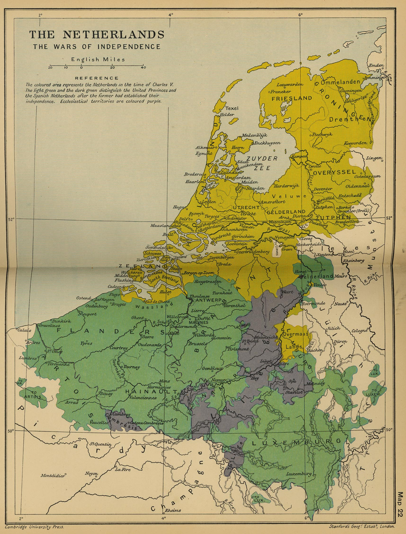 Map of the Netherlands: The Wars of Independence