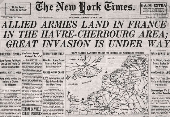 THE NEW YORK TIMES - JUNE 6, 1944, 6 A.M. D-DAY EDITION