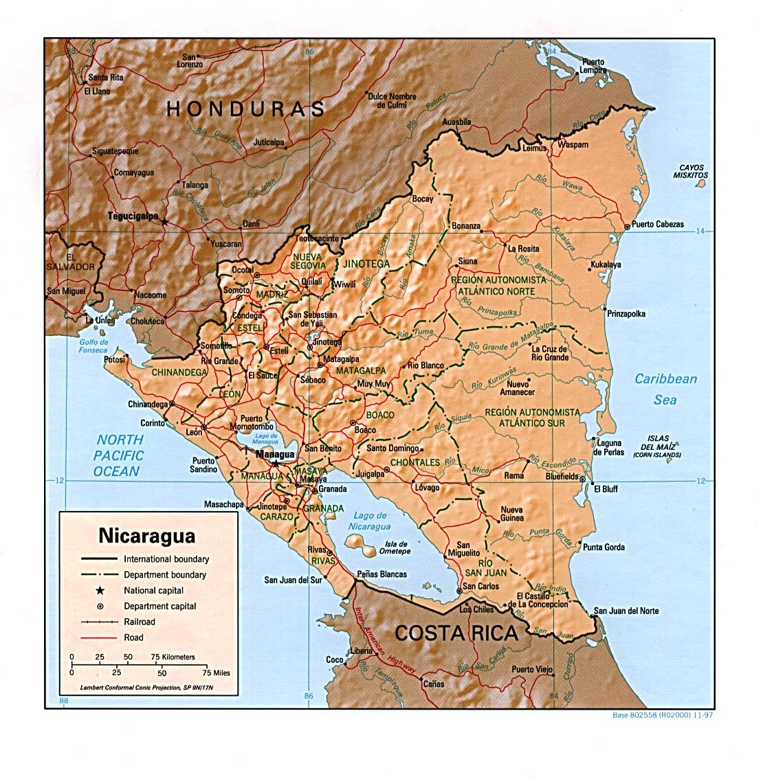 Nicaragua Capital Map Map of Nicaragua 1997