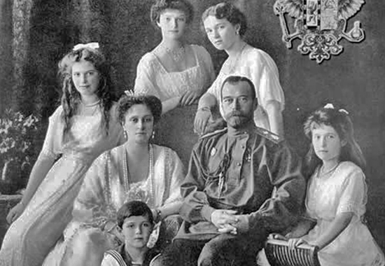 Emperor Nicholas II and his family - Empress Alexandra Fyodorovna and their children (left to right) Maria, Alexis, Tatiana, Olga, Anastasia
