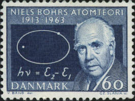NIELS BOHR ON A DANISH STAMP, 1963