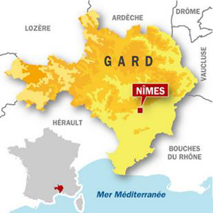 Map Location of Nimes, Gard d�partement, France