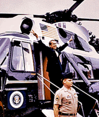 "Richard Nixon delivering the ""V"" sign upon his final departure from the White House, August 9, 1974"