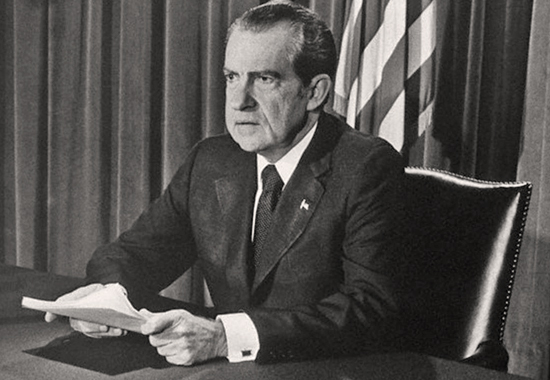 RICHARD M. NIXON ANNOUNCES HIS RESIGNATION 1974