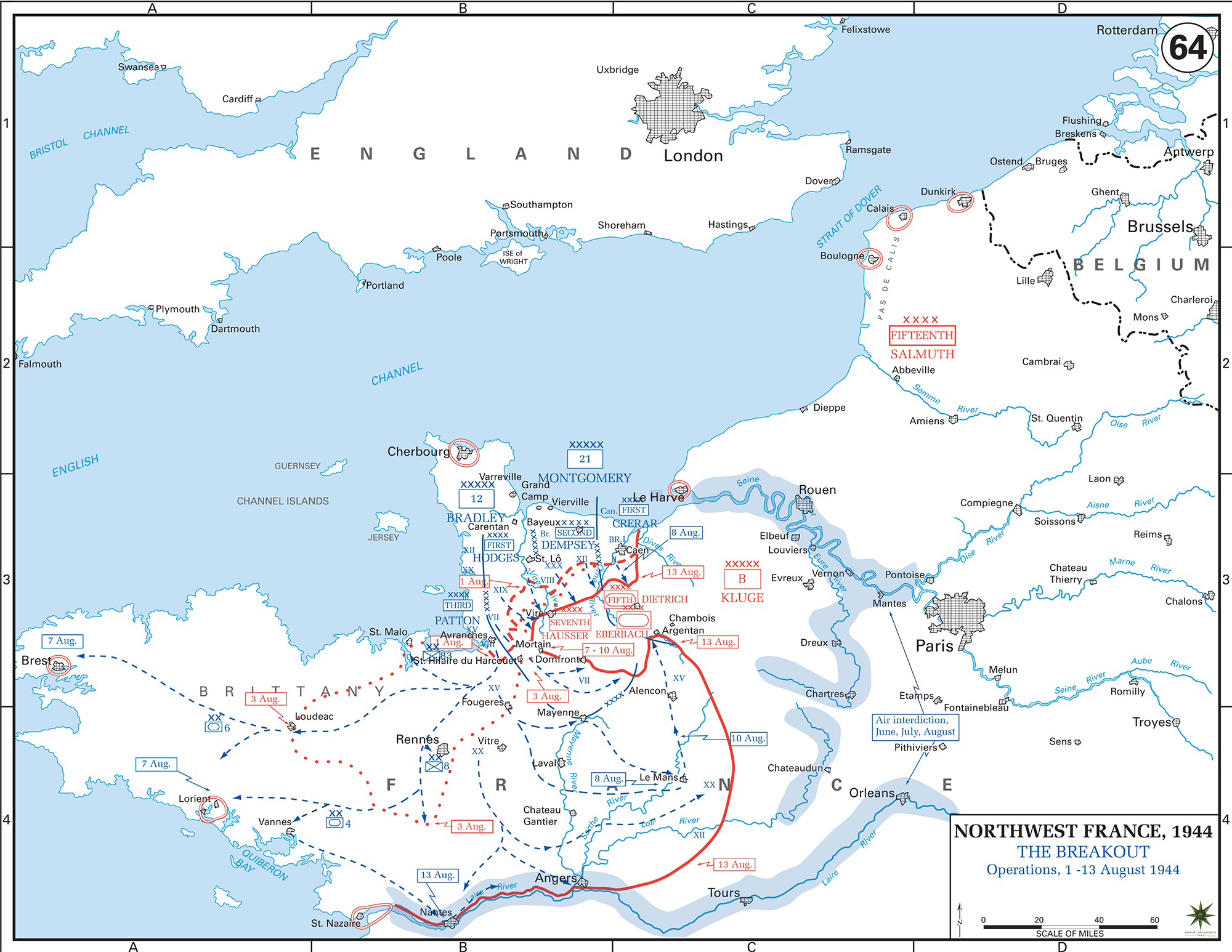 Map of WWII: Normandy Invasion. Operations August 1-13, 1944. The Breakout.