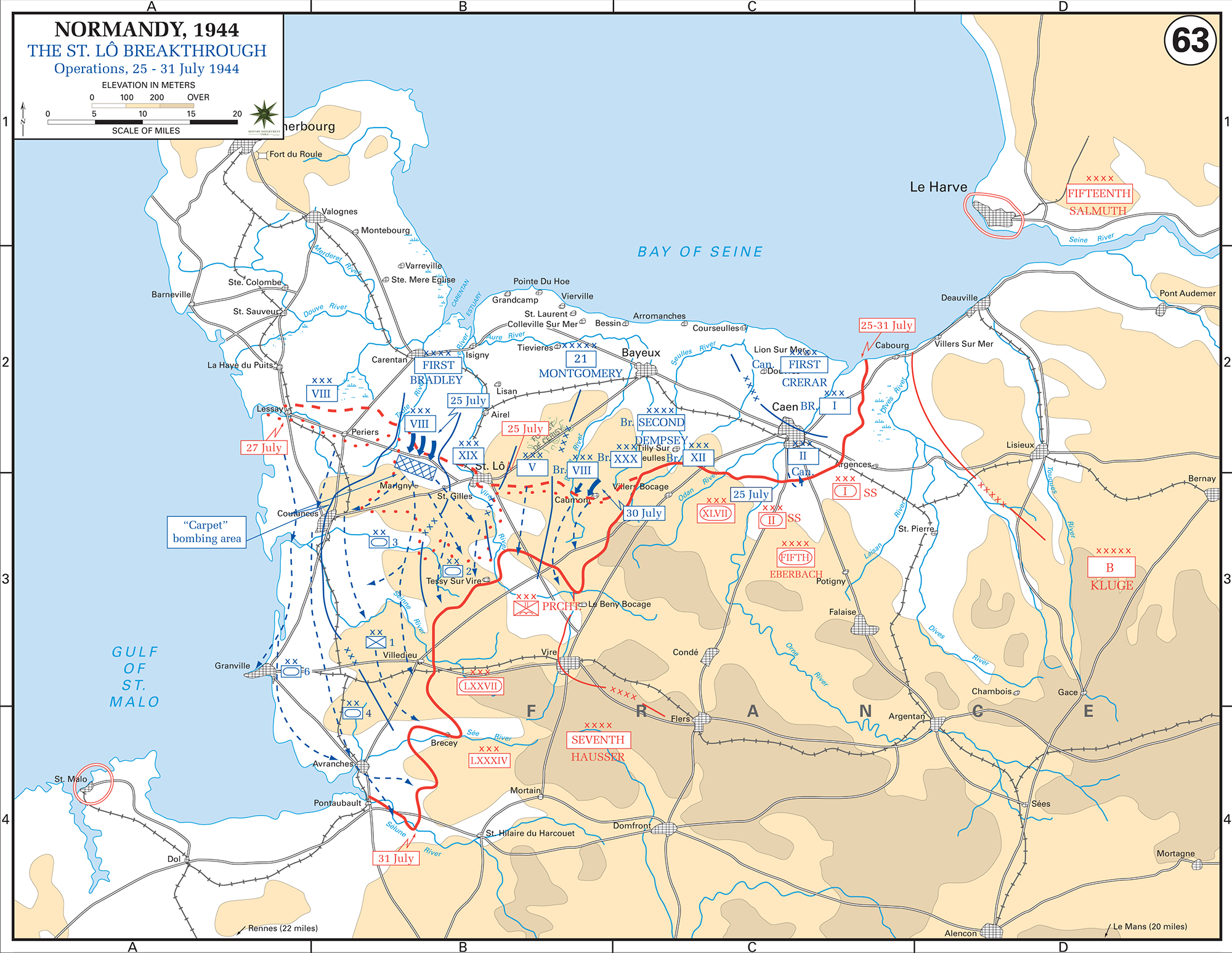 Map of WWII: Normandy Invasion. Operations July 25-31, 1944. The Saint-Lô (St. Lo) Breakthrough.