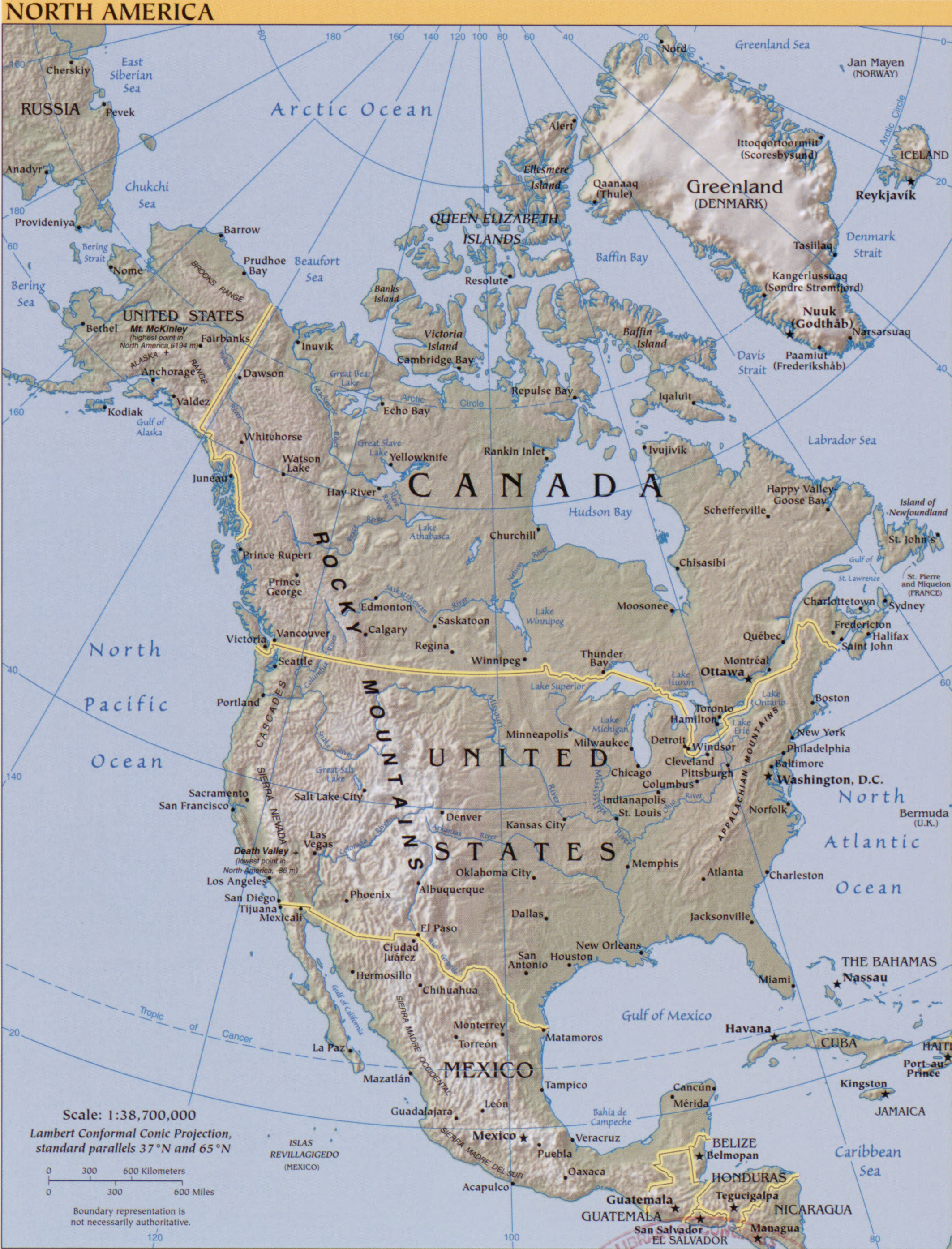History map of North America 2007.