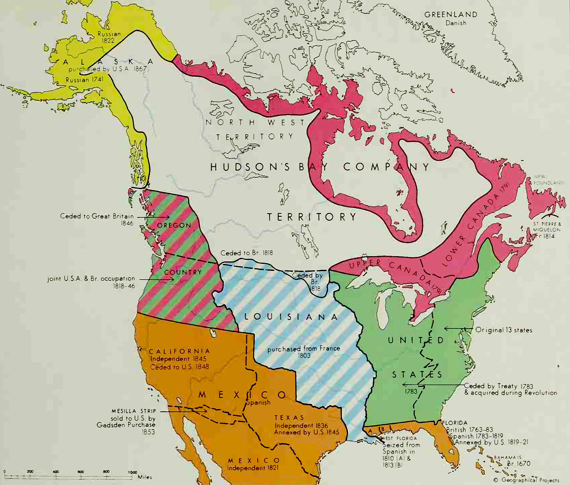 Map of North America 16701867