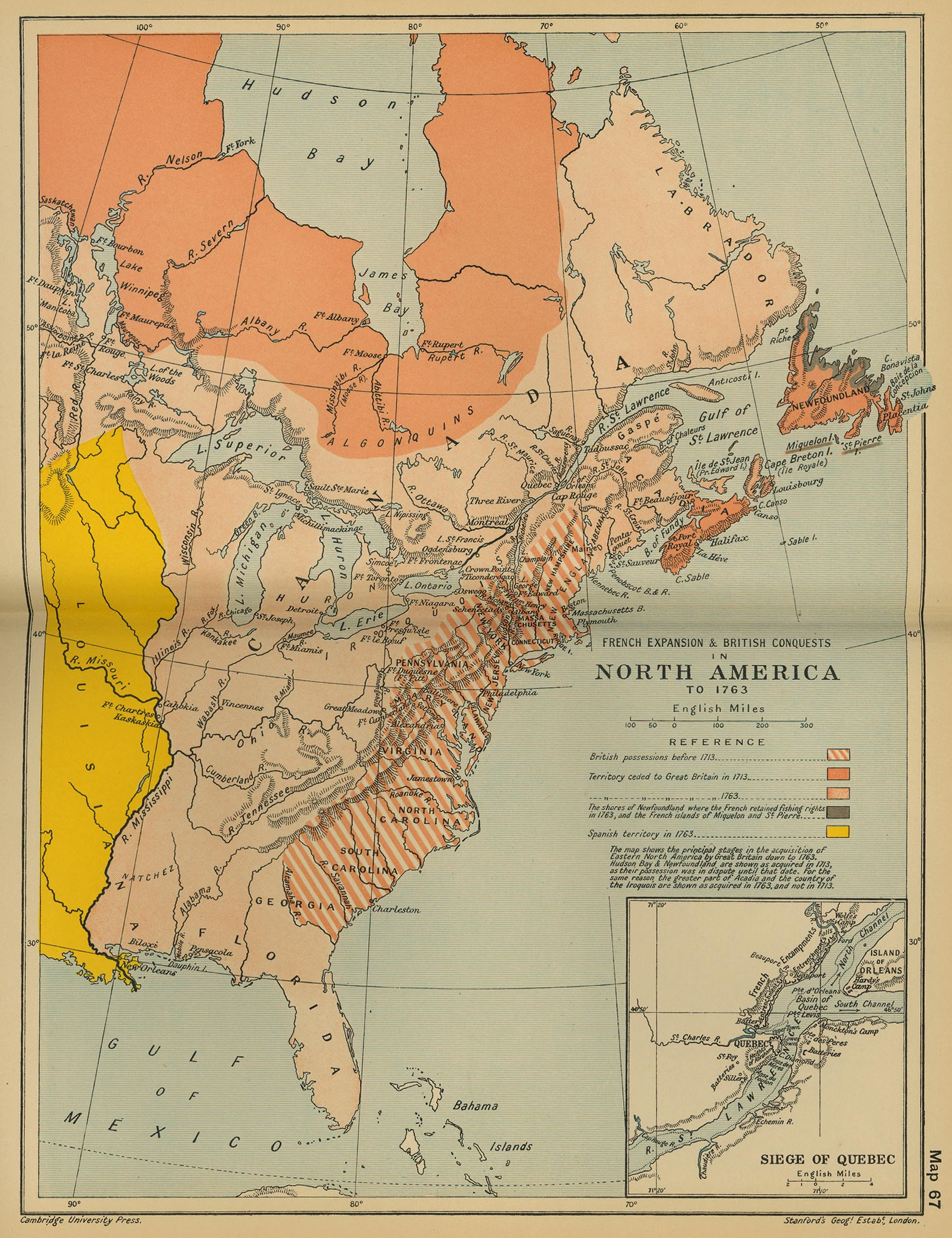 Map of North America to 1763