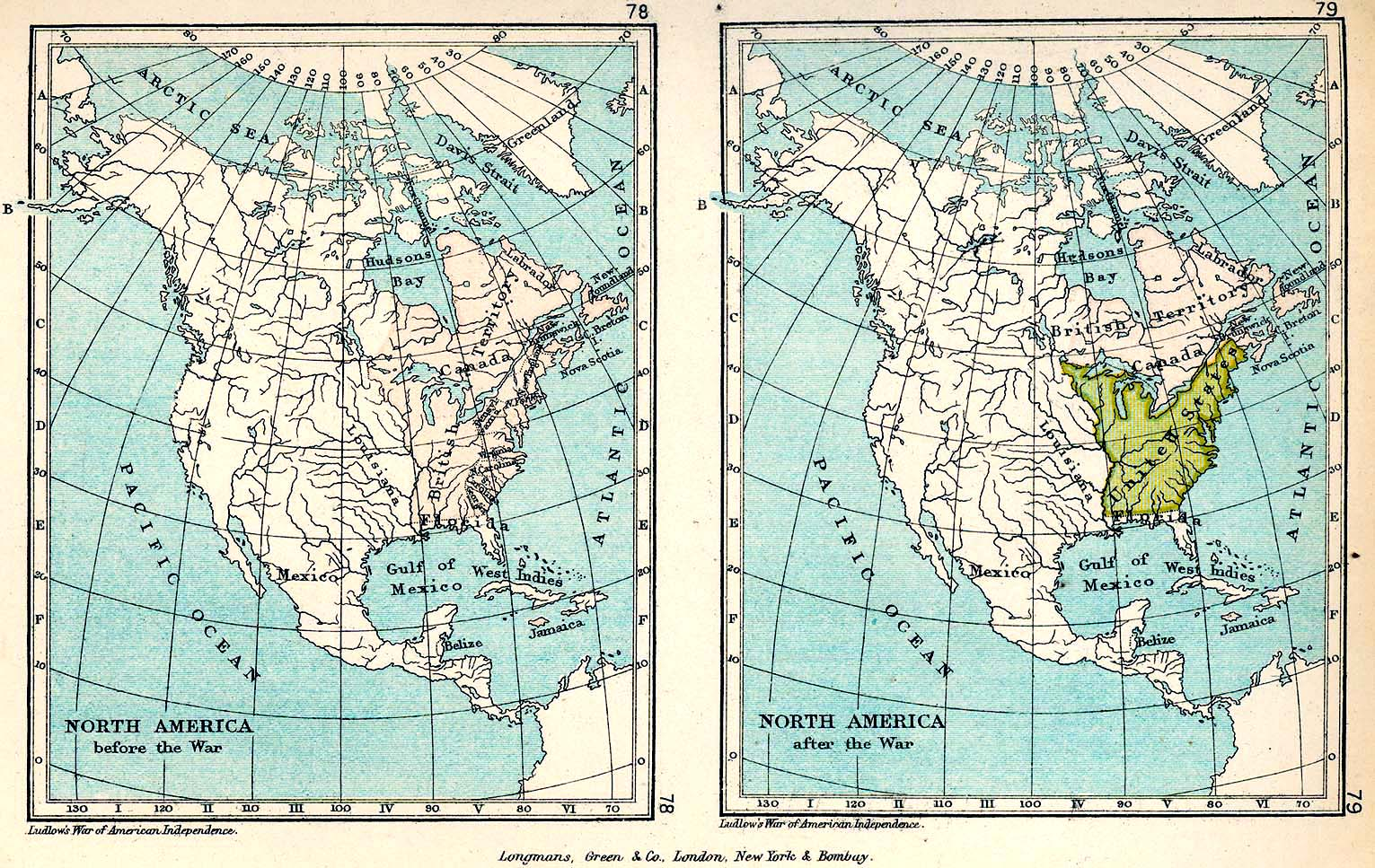 Two Maps of North America in 1775 and in 1783