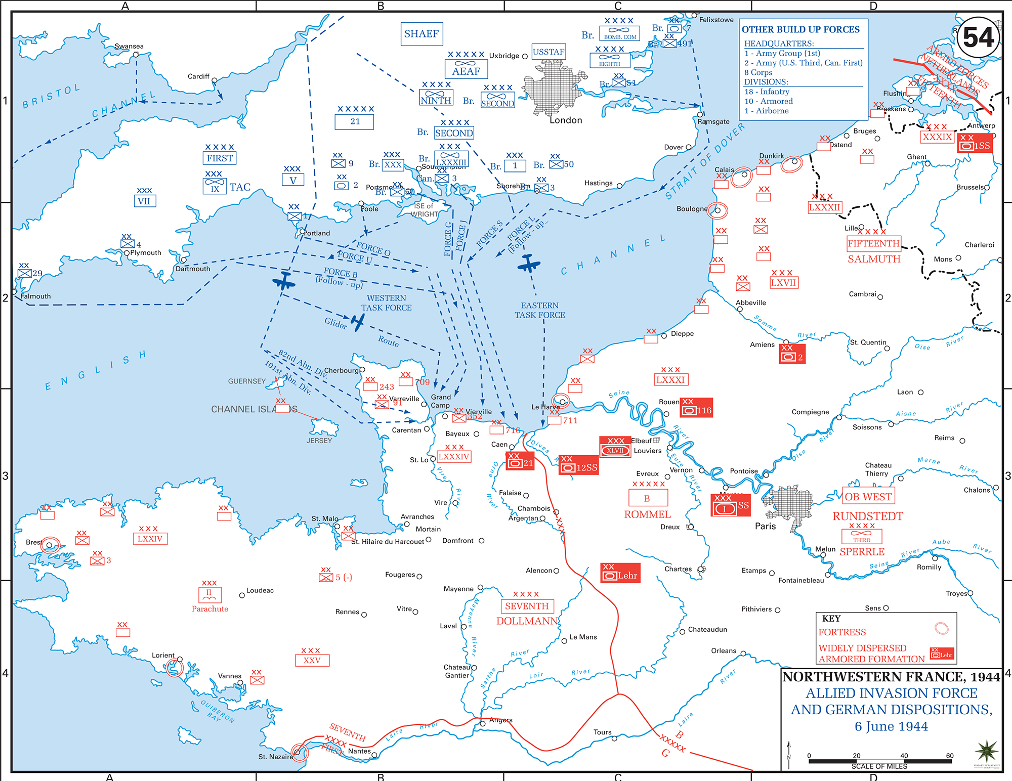 Map of Northwestern France June 6, 1944