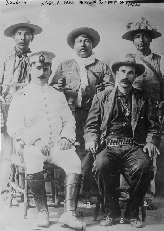 Álvaro Obregón in white with crew