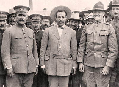 ALVARON OBREGON, PANCHO VILLA, JOHN J. PERSHING, BEFORE THEY WANTED TO BITE EACH OTHER'S HEAD OFF