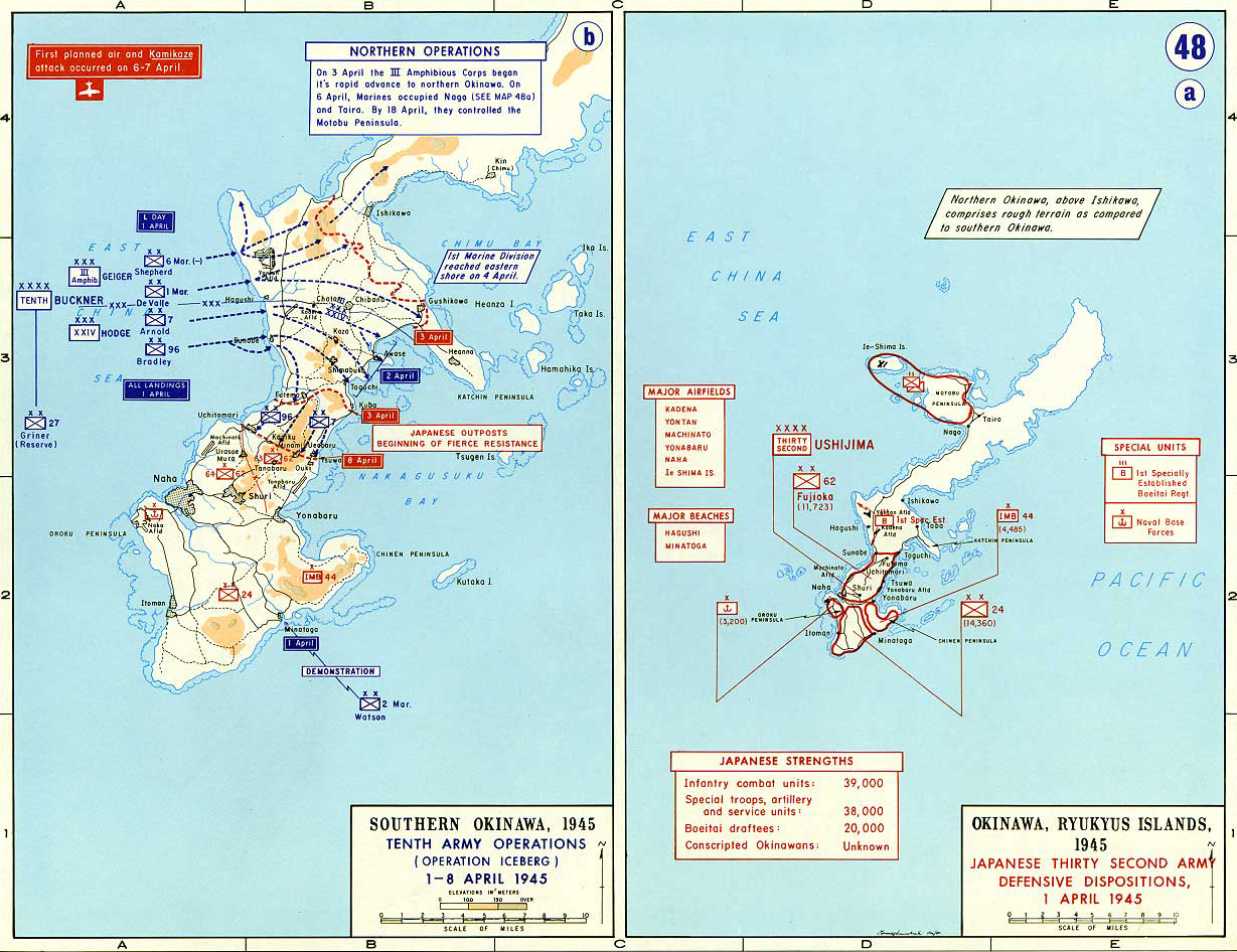 Map Of WWII Okinawa April - Japan map 1945