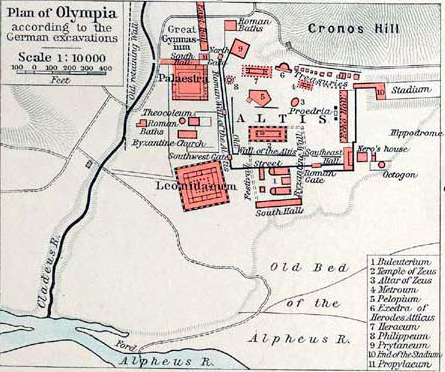 Map of Ancient Olympia