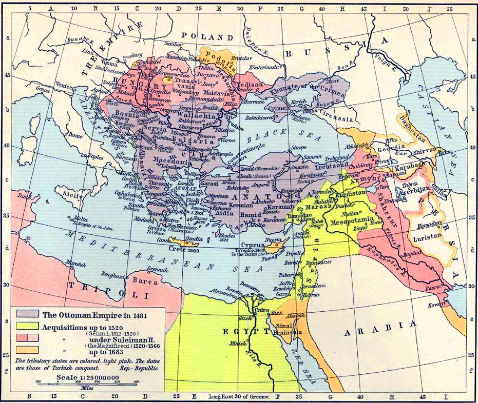 Map of the Ottoman Empire 1481-1683