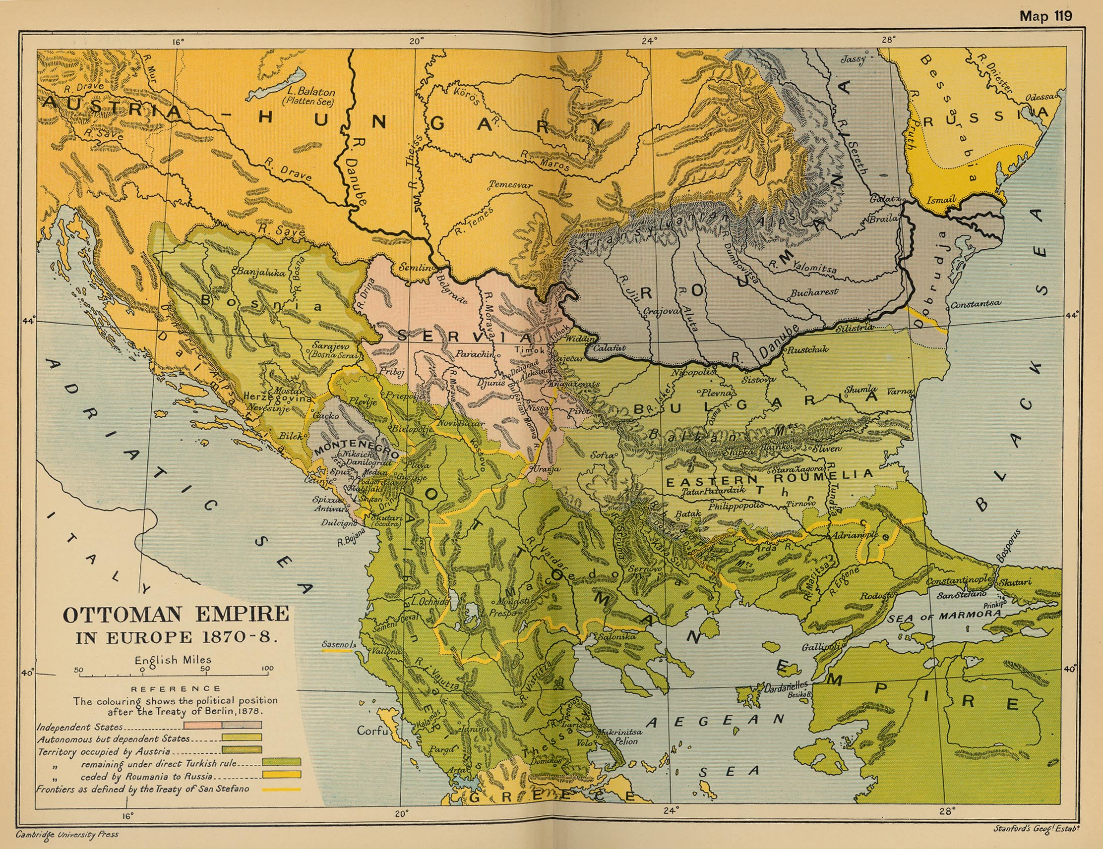 Map of the Ottoman Empire in Europe 1870-1878