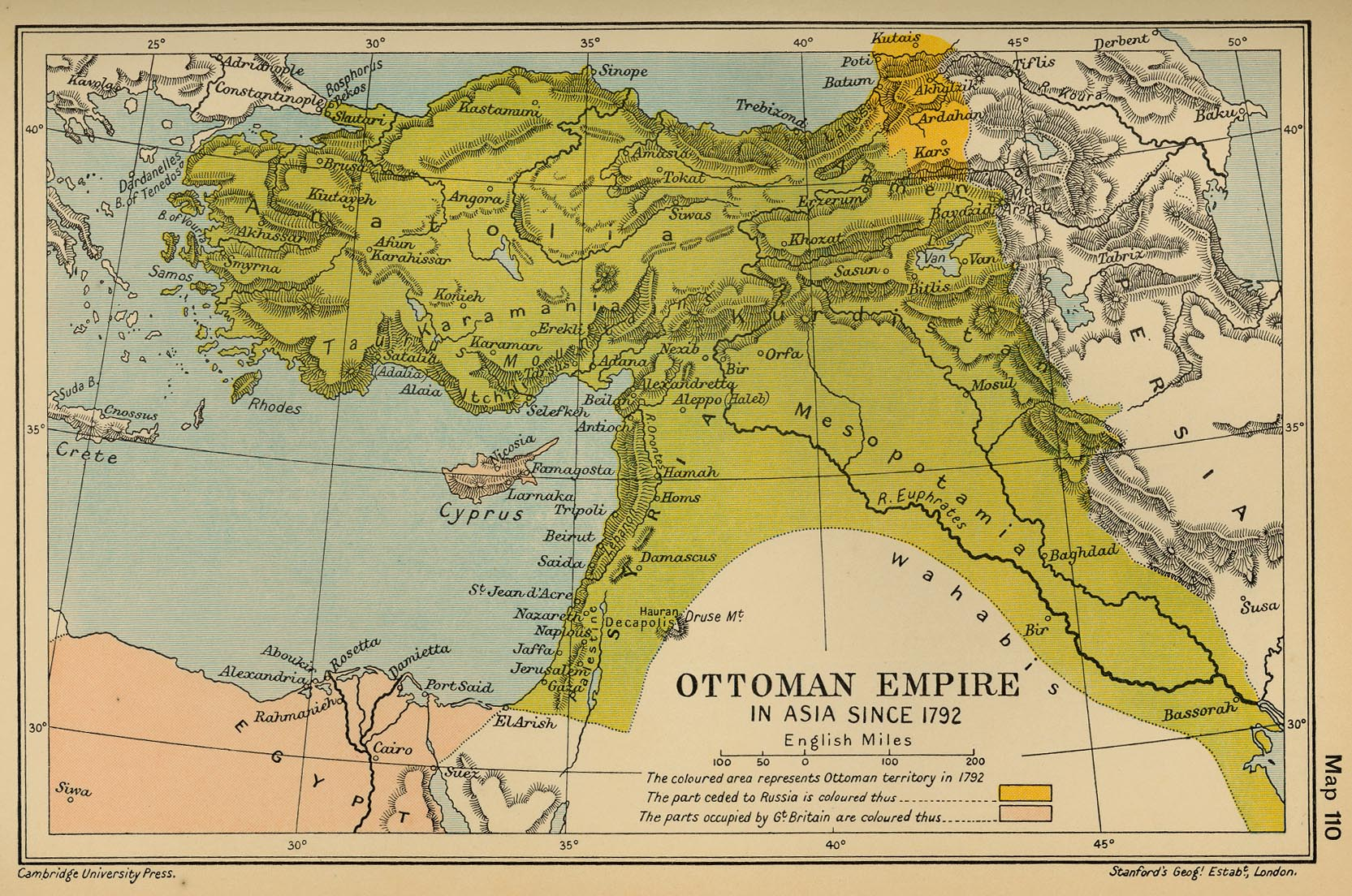 Map of the Ottoman Empire in Asia since 1792